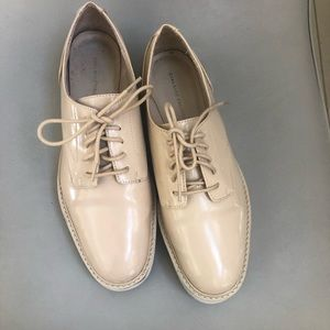 Zara beige patent leather platform lace up shoes 7